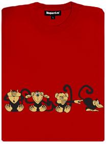 4 opice - červené dámské tričko s potiskem