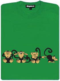 4 opice - zelené dámské tričko