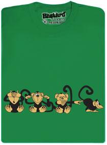 4 opice ukazují, co si o tom myslí na zeleném podkladu