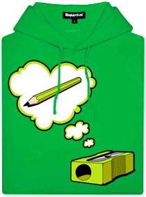 Zelená dámská mikina s potiskem Ořezávátko myslí na tužku
