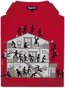 Červená pánská mikina s potiskem Party house