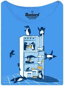 Párty tučňáků v lednici - modré dámské tričko