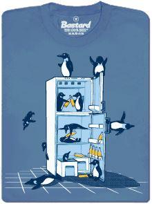 Párty tučňáků v lednici - modré pánské tričko s potiskem