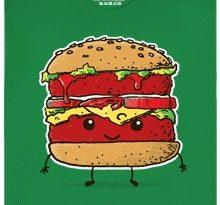 Patříme k sobě - hamburger - zelené pánské tričko