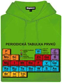 Zelená pánská mikina s potiskem Periodická tabulka alkoholů