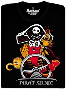 Opravdový pirát silnic s papouškem - černé pánské tričko