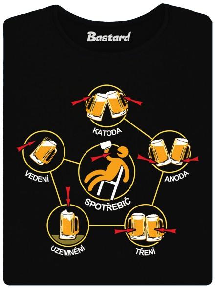 Katoda-anoda-tření-uzemnění-vedení a spotřebič - černé dámské tričko