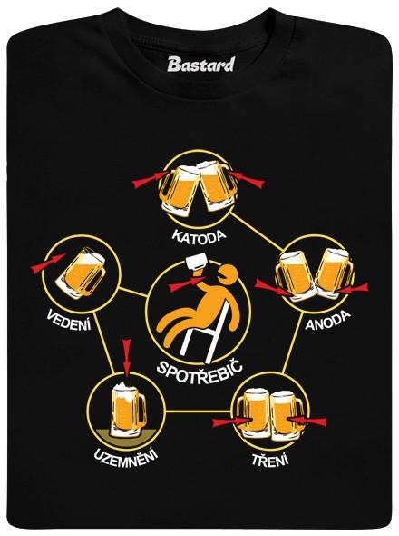 Pivní obvody - ťukání sklenicí piva - černé pánské tričko