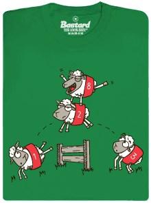 Počítáná oveček - zelené pánské tričko s potiskem