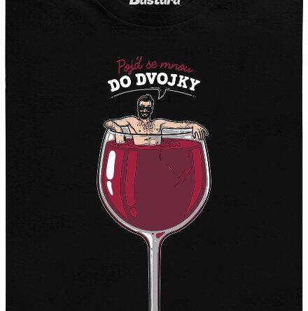 Pojď se mnou do dvojky červeného vína - černé pánské tričko