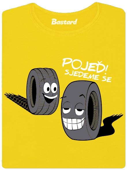 Sjeté pneumatiky se jedou sjet ještě víc - žluté dámské tričko