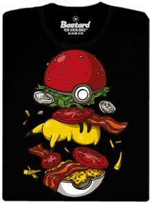 Pikachu v Pokéballu jako Pokéburger - černé pánské tričko
