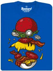 Pokéburger - modré pánské tričko s potiskem