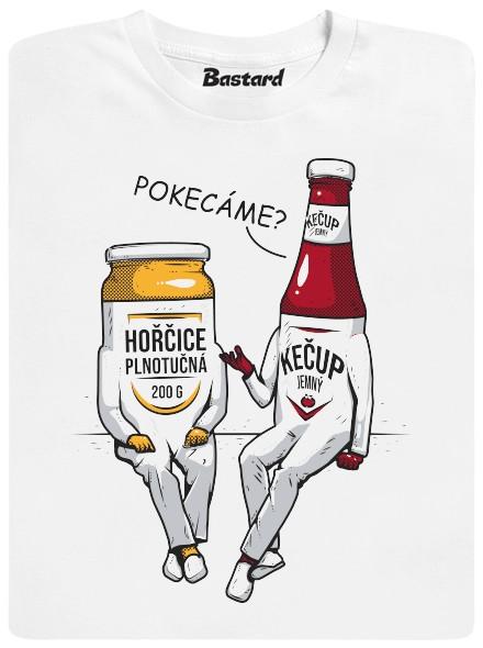 Pokecáme? Kečup a hořčice - bílé pánské tričko