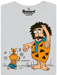 Pračlověk a jeho dítě ovládající internet - dámské tričko