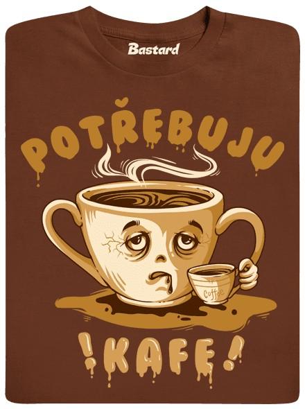 Potřebuju kafe - hnědé pánské tričko