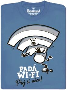 Přej si něco! Padá Wi-Fi - modré pánské tričko
