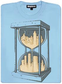 Modré dámské tričko s potiskem přesýpací hodiny