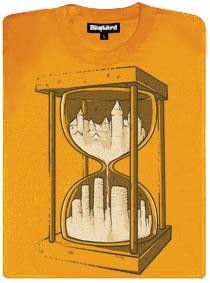 Žluté tričko s potiskem přesýpací hodiny