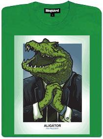 Prezident aligátor - zelené dámské tričko s potiskem
