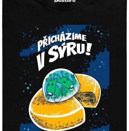 Přicházíme v sýru - černé pánské tričko