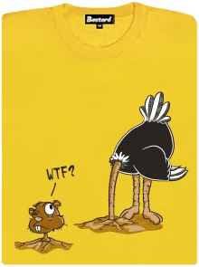 Pštros a sysel - žluté dámské tričko s potiskem