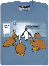 Ptačí skupinová terapie - modré pánské tričko