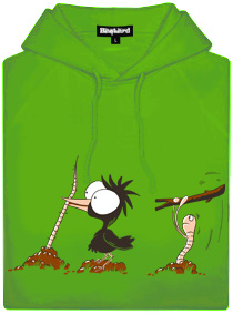 Pták a červ - nesprávný konec - zelená pánská mikina