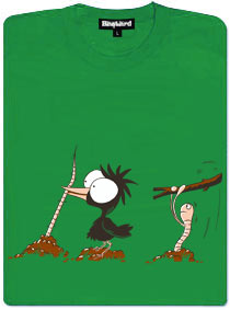 Pták a červ - zeleneé dámské tričko s potiskem