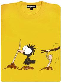 Pták a červ, který ho chce fláknout klackem přes hlavu - žluté dámské tričko