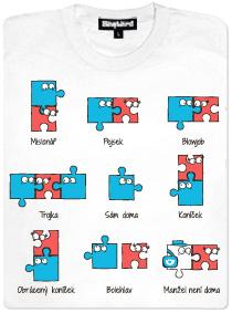 Kámasútra s puzzlemi - bílé dámské tričko s potiskem