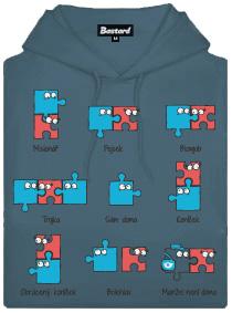 Puzzlesútra - modrá pánská mikina s potiskem