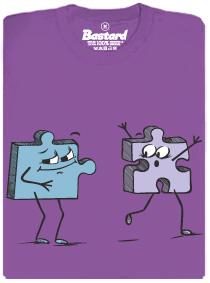 Puzzlíci - fialové dámské tričko s potiskem