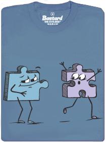 Puzzlík chce Puzzlinku, která mu utíká - modré pánské tričko