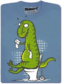 Tyranosaurus Rex sedí na záchodě s kusem papíru v ruce