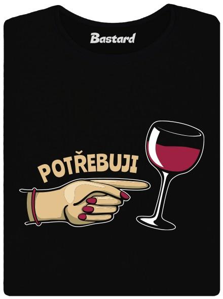 Potřebuji víno - černé dámské tričko