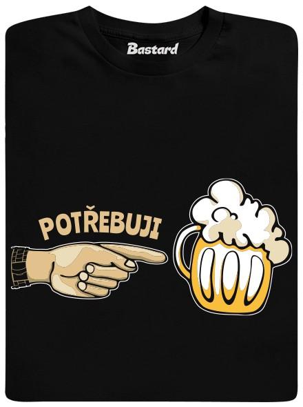 Potřebuji pivo - černé pánské tričko