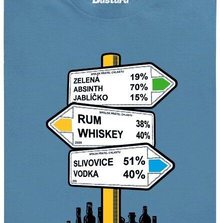 Rozcestník barev alkoholu - modré pánské tričko