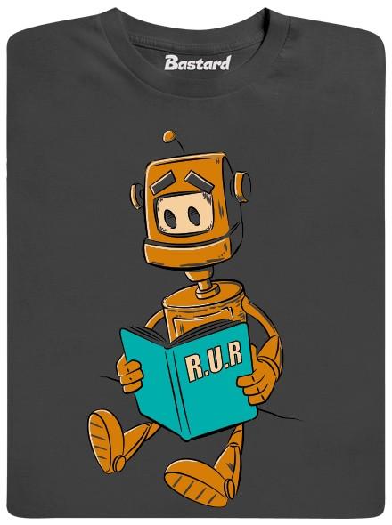 R.U.R. - robot si čte - šedé pánské tričko