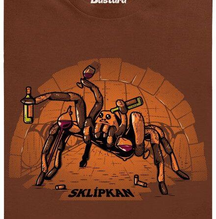 Sklípkan s vínem v ruce - hnědé pánské tričko