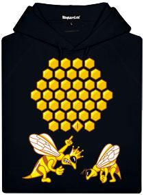 Černá mikina s potiskem Včela a její sladká chyba