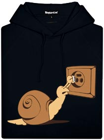 Černá mikina s potiskem Šmírování - šnek