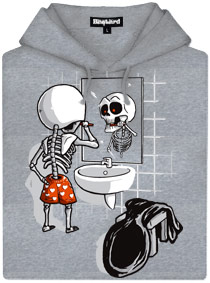 Šedá dámská mikina s potiskem Smrtka kostlivec před zrcadlem