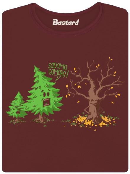 Opadávající listnatý strom - hnědé dámské tričko