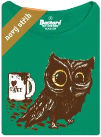 Sova vypila moc kafe - zelené dámské tričko s potiskem