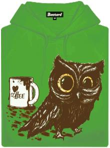 Sova na kofeinu - zelená pánská mikina s potiskem