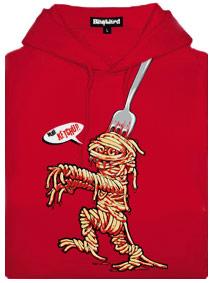 Červená dámská mikina s potiskem Špagetová mumie