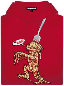Červená pánská mikina s potiskem Špagetová mumie