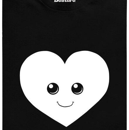 Fosforeskující srdíčko - černé pánské tričko