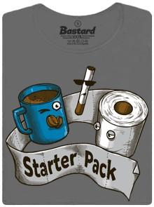 Toaletní papír, káva a cigareta - ideální start dne - šedé dámské tričko